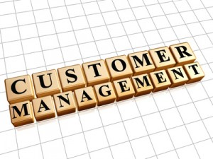 using google alerts to improve customer management; image is customer management spelled out.