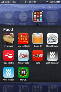 iPhone screen with apps